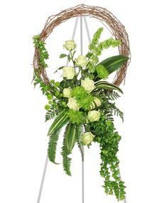 grapevine wreath flower arrangements | ... GREEN INSPIRATIONS Funeral Wreath | Sympathy | Flower Shop Network