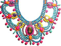 Pure Essentia One of a Kind Neon Handpainted Vintage Rhinestone Necklace - Example