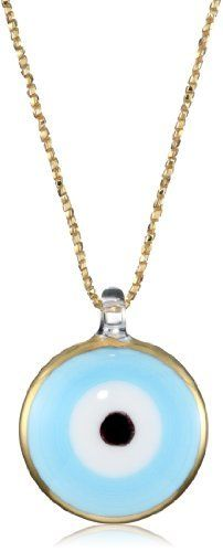 """Yummi Glass 24k Gold-Painted Murano Glass Sky Blue-Color Evil Eye Pendant Necklace Yummi Glass. $225.00. Hand-made Murano glass necklace on matching gold sparkle cord and a sterling toggle. Made in Italy. Strung at 22"""". Sky blue evil eye necklace with 24k gold paint outline"""