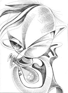 Rascunhos de 1993…eu gostava de fazer retratos deformados, meio cubistas.