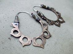 Lotus Flower Hoop Earrings Antiqued Bronze by SilviasCreations, $79.00