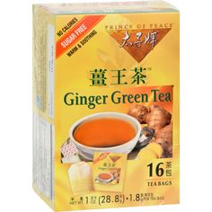 Prince of Peace Ginger Green Tea - 16 Tea Bags - Prince of Peace Ginger Green Tea Description:    No Calories  Sugar Free  Warm and Soothing Prince of Peace brings you all the natural benefits of Ginger and Green Tea in our special proprietary blend of Ginger Green Tea. Our tea has an appealing aroma and exquisitely smooth taste. Its sugar free and has no calories. Youll love this natural sweet and spicy flavor!   Since 1983 Prince of Peace has been a pioneer of oriental herbal tea products…