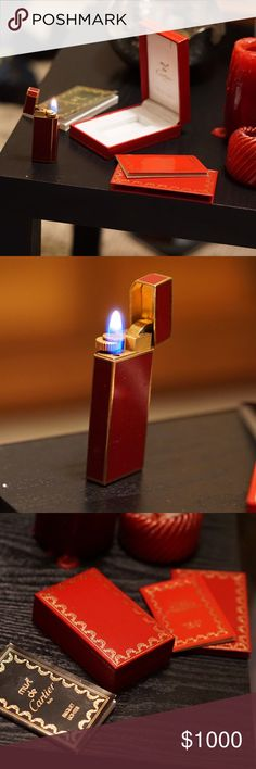 Cartier 5-sided Briquet Lighter, Maroon + Gold Includes replacement flints, original product information manuals and the authentic Cartier International Guarantee Certificate. Design features modern, 5-sided burgundy lacquer and gold trim with a gold interior. This lighter has rarely been used and is in perfectly maintained condition. Comes filled with a fresh refill of butane. Cartier Accessories Jewelry