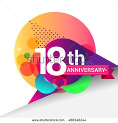 18th Anniversary logo, Colorful geometric background vector design template elements for your 18 years birthday celebration.