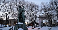 Sunrise over Grand Army Plaza - (L-R) the Brooklyn Public Library , Bailey Fountain and the Soldiers & Sailor's Memorial Arch - Prospect Park, Brooklyn, New York City, NY  #landscape #architecture #winter #snow #weather  #art #sculpture #history #monument #memorial #landmark #city #street #urban #sky #skyline #sunrise #grandarmyplaza #fountain #arch #prospectpark #brooklyn #newyorkcity #nyc #ny #magic #golden #colorful #hdr #nikon