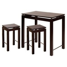 Winsome 3 Piece Kitchen Island with 2 Stools