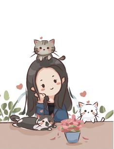 Want a catchy avatar? Try our custom portraits by true artists. Cartoon Girl Images, Cute Cartoon Pictures, Cartoon Art Styles, Cute Kawaii Drawings, Cute Animal Drawings, Cartoon Drawings, Cute Cartoon Girl Drawing, Cute Cat Wallpaper, Dibujos Cute
