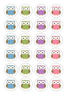 24 Edible cake toppers wafer rice paper cute polka dot owls
