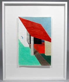 """Drawing Unicum mixed media on paper Casa con ingresso Coperto / House with covered entryway design execution Ettore Sottsass 1917 - 2007 in 2001 made for Antonia Jannone Gallery Milan / Italy for the exhibition """" Architettura Attenuata """" """"Subdued Architecture"""" 2003 where purchased by the current owner"""