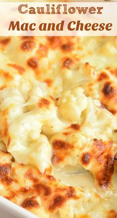Cauliflower mac and cheese is creamy, cheesy, and comforting substitution for a childhood favorite pasta dish. It's made with cauliflower, creamy cheese sauce, and baked with more cheese on top. This recipe is rich and Califlower Mac And Cheese, Keto Mac And Cheese, Mac Cheese Recipes, Creamy Cheese, Low Carb Recipes, Vegetarian Recipes, Cooking Recipes, Baked Cauliflower With Cheese, Vegetarian Mac And Cheese
