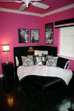 Dorm idea. A girl can dream. Looks great with our black and white trays and accessories