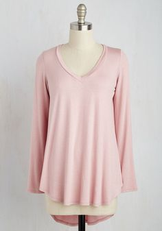 Embracing Basic Top in Dusty Rose - Long, Jersey, Knit, Pink, Solid, Casual, Long Sleeve, Variation, V Neck