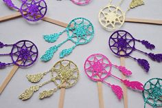 Dream Catcher Cupcake Topper ; Boho Tribal Party Decor ; Pow Wow Birthday ; Dream Catcher Decoration