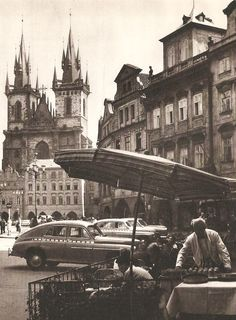 Old Market Square in Prague by V. Prague Czech Republic, Heart Of Europe, Luxor Egypt, Beautiful Places In The World, Eastern Europe, Vintage Travel, Time Travel, Old Photos, Amazing Photography