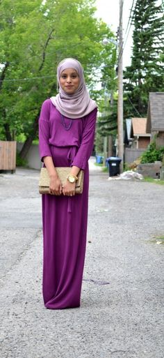 Statement Purple Maxi Dress Paired With Neutral Toned Gold Accessories Hijab Style Fashion