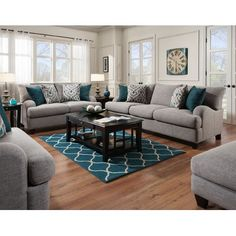 892 - The Paradigm Living Room Set - Grey 59 Best Solution Small Apartment Living Room Decor Ideas Coastal Living Rooms, Living Room Grey, Living Room Interior, Home And Living, Small Living, Living Room Decor Teal, Cozy Living, Living Room Furniture Sets, Living Room Turquoise