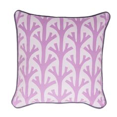 Batik cushion with branch pattern.  Amethyst colourway with grey piping.  100% cotton  100 feather inner