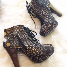 Reserved Black Lace ankle boots Maybe worn once... In perfect condition. Lace up ankle boots. Tan boots with layered black lace. Black shoe strings, and dark wood heel. Size 9, fits true. Qupid Shoes Ankle Boots & Booties