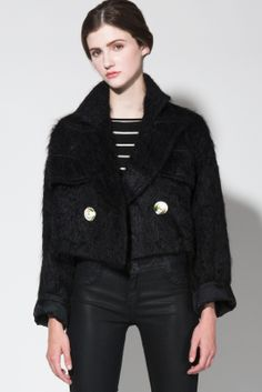 Vintage 80s Cropped Mohair Boxy Jacket http://thriftedandmodern.com/vintage-80s-black-shaggy-mohair-cropped-jacket