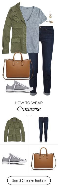 """Break at Last"" by eliekcole on Polyvore featuring AG Adriano Goldschmied, J.Crew, Converse, Madewell and Tory Burch"