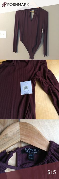 NWT Nordstrom Bodysuit Top Burgandy/maroon bodysuit -NWT purchased from Nordstrom - their Topshop brand. Perfect condition. Nordstrom Tops Blouses