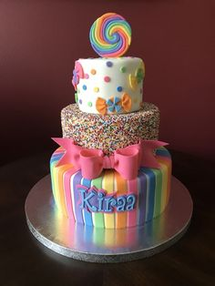 Candy Land Birthday Cake The Effective Pictures We Offer You About Birthday Cake A quality picture can tell you many things. You can find the most beautiful pictures that can be pres Jojo Siwa Birthday Cake, Candy Theme Birthday Party, Candy Birthday Cakes, Candy Land Theme, Birthday Cake Girls, Candy Party, Candy Theme Cake, Birthday Ideas, Frozen Birthday