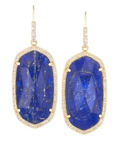 Small Pave Oval Earrings in Lapis