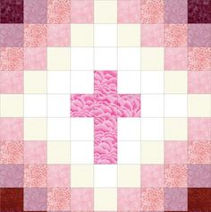 Our quilt kit is already precision pre-cut for accuracy. This easy to sew religious Christian cross quilt kit can be made into a perfect baby quilt with beautiful pink tones from white to pink to wine Strip Quilts, Patch Quilt, Quilt Blocks, Quilting Projects, Quilting Designs, Sewing Projects, Craft Projects, Quilt Baby, Nancy Zieman