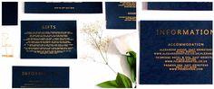 Black and gold gift cards to slot inside wedding invites