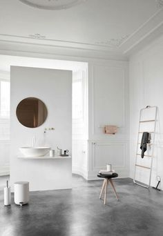 floating wall.  Really like this concept.  Perhaps open shower behind or toilet?