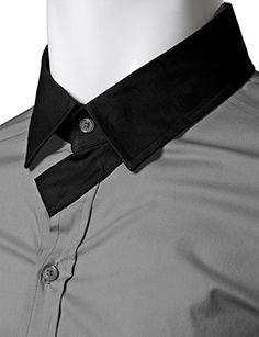 Doublju Men Comfortable Skinny Fit Neck Point Long Sleeve Dress Shirt GRAYBLACK,2XL | Relaxbuddy Online Shopping Dress Shirt And Tie, Long Sleeve Shirt Dress, Male Dress, Collar Stays, Mens Hawaiian Shirts, Men Shirts, Skinny Fit, Shirt Blouses, Online Shopping