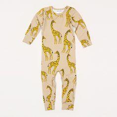 Giraffe Long Sleeve Bodysuit #biege #boyswear #giraffe #minirodini #organic-cotton #zoologist