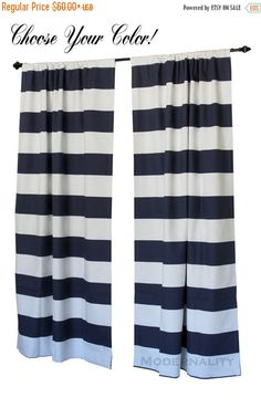 SALE Large Striped Curtains- Pair of Drapery Panels- Premier Prints Cabana Curtains- 63 84 90 96 108 120 inch Drapes- Horizontal Navy Blue by ModernalityHomeDecor on Etsy https://www.etsy.com/listing/243146536/sale-large-striped-curtains-pair-of