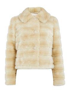 Faux fur coat with diamante buttons