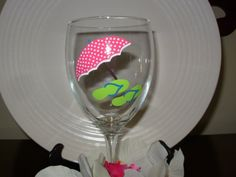 Beach Umbrella and Flip Flop Wine Glass Handpainted by Kathy1910, $10.00