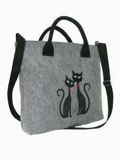 CAT BAG FELT   Felt laptop bag Laptop bag grey Cat bag  Felt tote bag  Felt handbag  Felt shoulder bag  Cat design bag by BPStudioDesign on Etsy