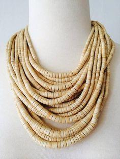 Beige safari necklace bone beaded multi strand by CityGirlEtsy, $20.00