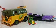 TMNT Vehicle Toy Lot 1988-89 Party Wagon, Foot Cruiser, Blimp, Cheapskate