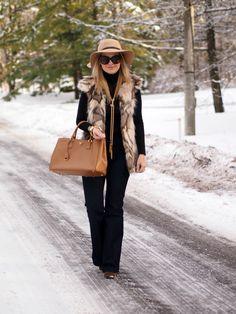 2.14 wide leg (Missguided hat + SheInside faux fur vest + Joe Fresh turtleneck + ILY Couture necklace + H&M jeans + ShoeMint boots + Prada bag + Celine sunnies)