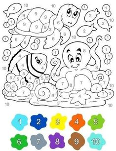 Kindergarten worksheets, Kindergarten math, Preschool worksheets, Math for kids, Kids education, Color by numbers - 27 Dibujos para colorear por números  Alumno On -  #Kindergartenworksheets