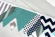 Bunting Banner, Flags, Photography Prop, Nursery Decor, Birthday Decoration, Garland, Pennant - Aqua Blue, Navy Blue, Gray, Mint, Chevron