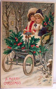 Vintage Christmas Postcard - love the old car in this one!