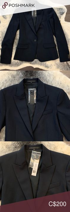 BNWT- Theory Navy Structured Blazer A must have for any closet.  Versatile to wear over dresses, blouses or with skinny jeans.  Brand new with tag.  Retails for $425 Theory Jackets & Coats Blazers Blazer Suit, Suit Jacket, Price Drop, Colored Blazer, Theory, Plus Fashion, Fashion Trends, Blazers, Jackets For Women