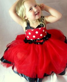 Minnie Mouse Dress red & white polka dots with by KnottedWear, $39.95