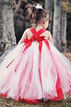 tutu+flower+girl+dresses | White and Red Flower Girl Tutu Dress , Tutu Dresses