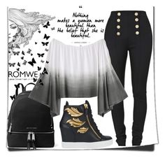 """""""romwe ombre top contest"""" by teto000 ❤ liked on Polyvore featuring Balmain, MICHAEL Michael Kors and Giuseppe Zanotti"""