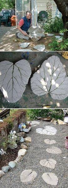 Rhubarb leaf stepping stones