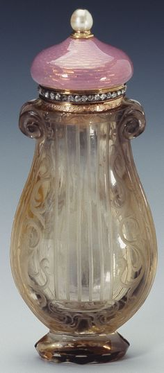 Fabergé smoky quartz scent bottle. Artglass…