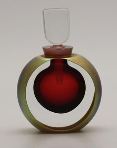 Unique Beautiful Correia Art Perfume Bottle Hand Blown Gold and Red