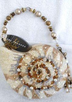 Mary Frances Nautilus Sea Shell Shells White Gold Bag Purse Handbag NEW ONLY 1